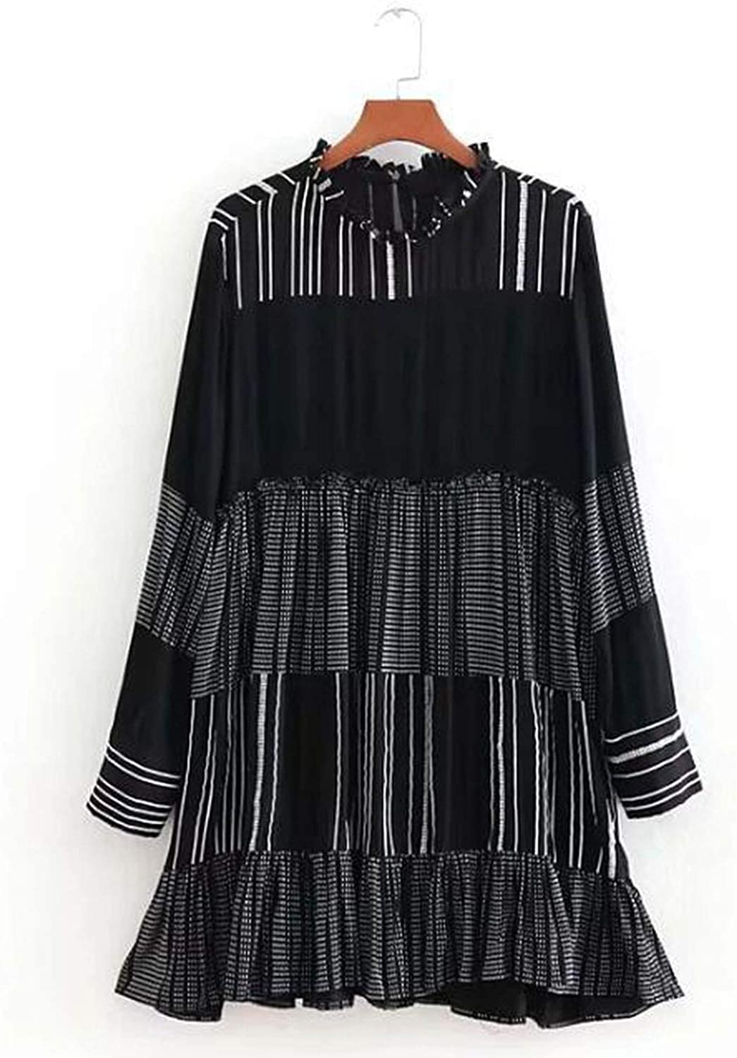 2018 Autumn Black White Hit color Long Sleeved Ruffled Collar Vintage Party Dress Umbrella