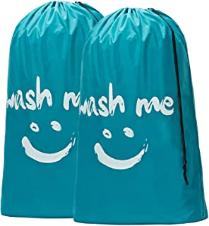 HOMEST 2 Pack XL Wash Me Travel Laundry Bag, Machine Washable Dirty Clothes Organizer, Large...