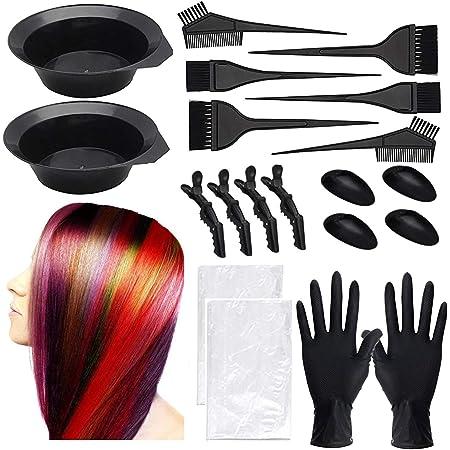 Kit de tinte de pelo para colorear, kit de herramientas de salón de belleza, chal de pelo desechable, peine de cepillo, cuenco para tintar el cabello, ...