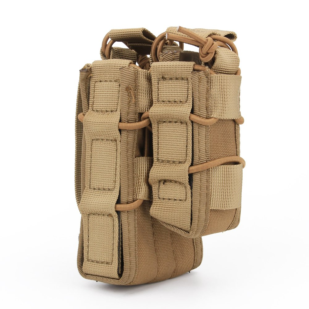 haoYK Tactical Outdoor Solo Estuche Abierto para el ejército Molle Airsoft mag Estuche para Bolso M4 / M16 Estuche y Estuche para Pistola MOLLE Pouch (DE): Amazon.es: Deportes y aire libre