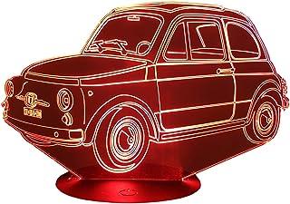 FIA. 500 TIPOLINO, Lampada illusione 3D con LED - 7 colori.