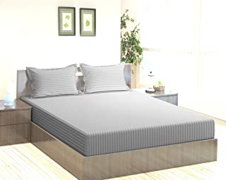 """Trance Home Linen 100% Cotton 210 TC King Fitted Bedsheet 78"""" * 72"""" with 2 Pillow Covers (Silver Grey)"""
