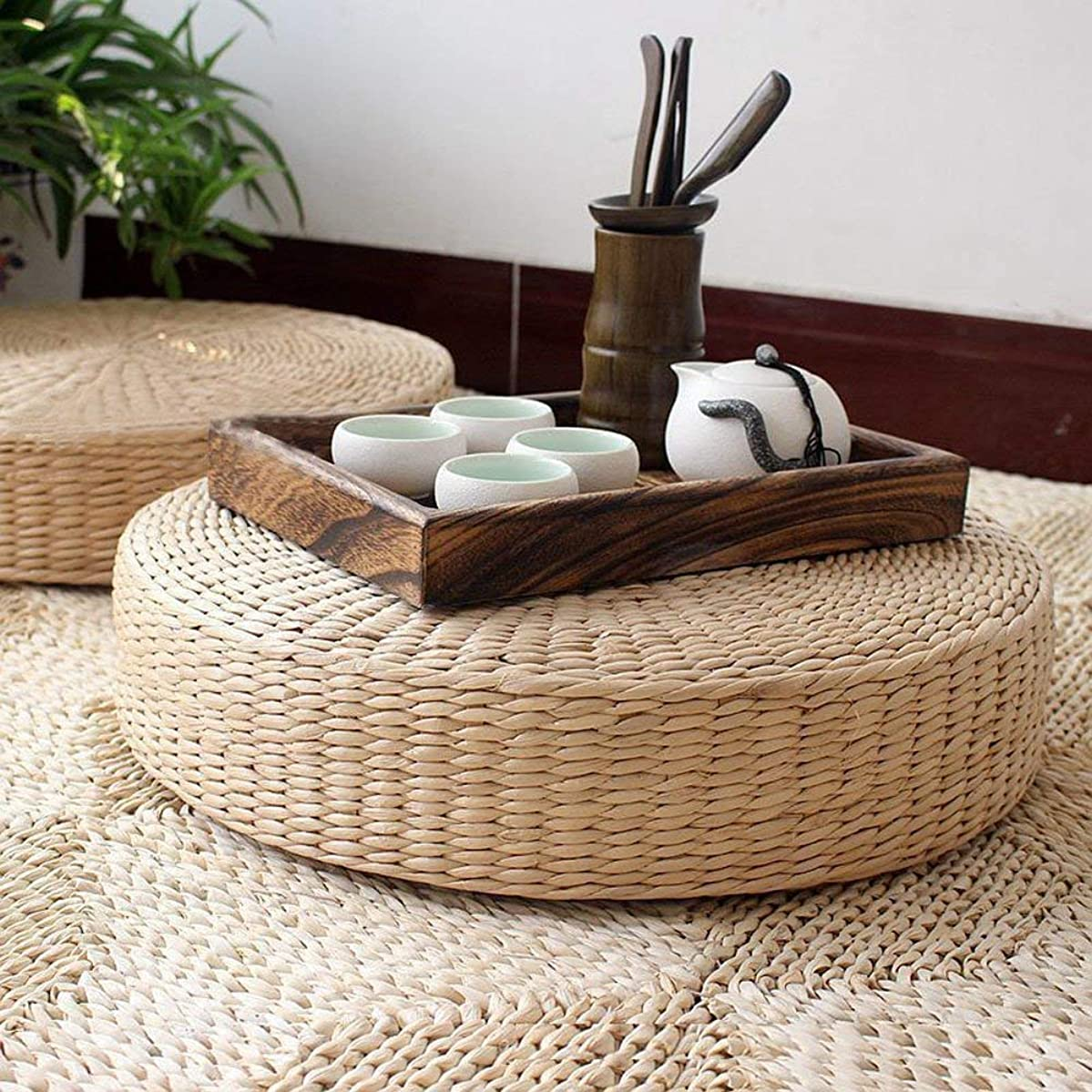 LB Japanese Style Handcrafted Eco-Friendly Breathable Padded Knitted Straw Flat Seat Cushion,Hand Woven Tatami Cushion Best for Zen,Yoga Practice or Meditation (Z 15.8''X4.3'')