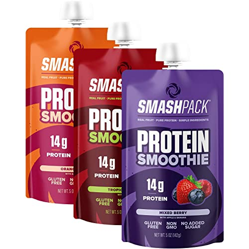 SmashPack Protein Fruit Smoothie Pouch Variety Pack 6 Pack | 14g Whey Protein with MCT Oil | Paleo Friendly, No Added Sugar, Gluten Free, Soy Free, Non-GMO | 100% BPA Free | 5 oz Squeeze Pouches