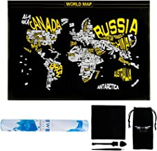 TWIIMA [Buy One Get One] Word World Map Scratch Off Wanderlust World MAP World Travel map Scratch Off Country Gift Scratch Word (Black&Yellow)