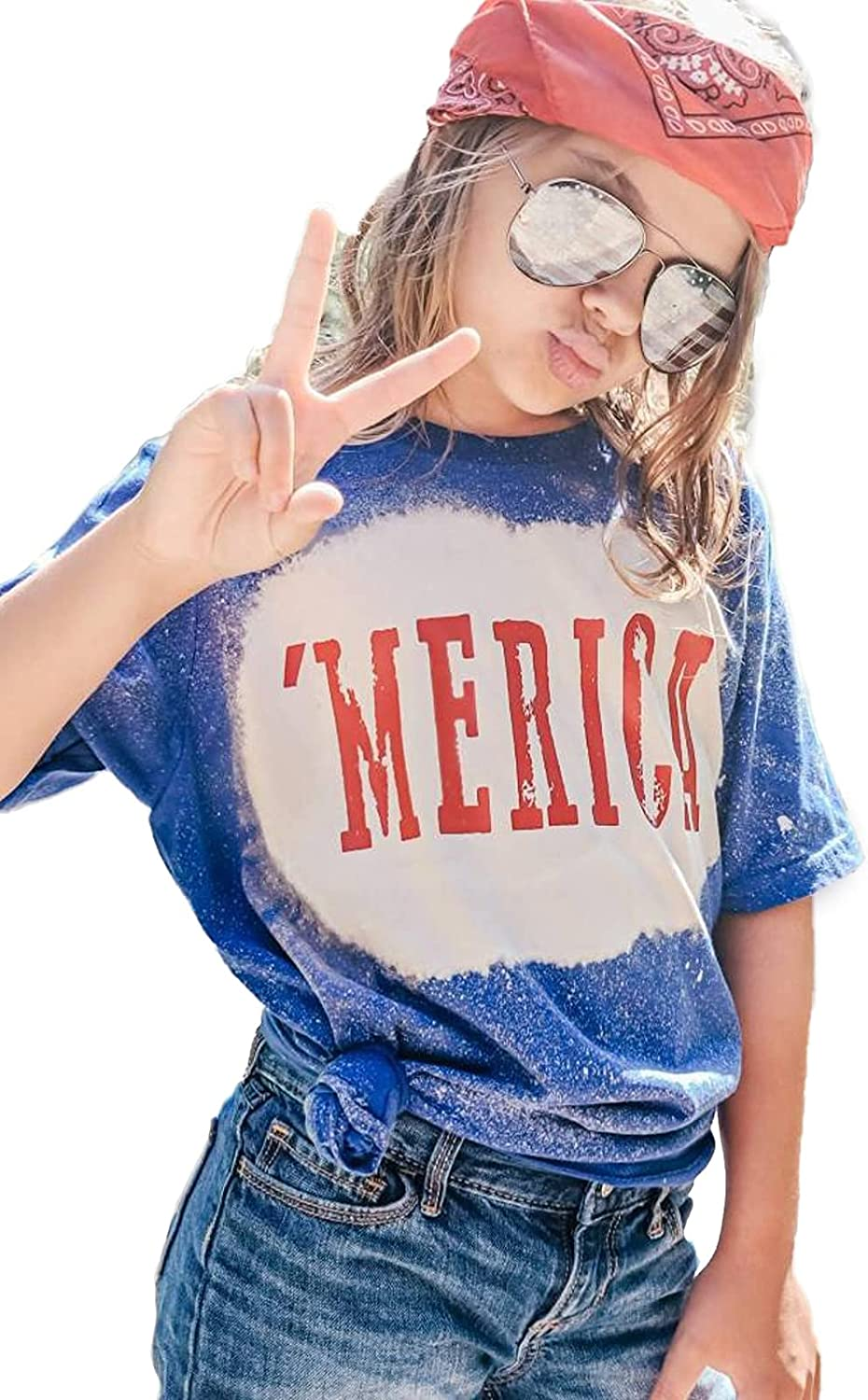 Baby Boy Girl 4 of July Outfit Bleached America Letter Print Shirts Unisex Toddler Infant Vintage Patriotic Short Sleeve Tee