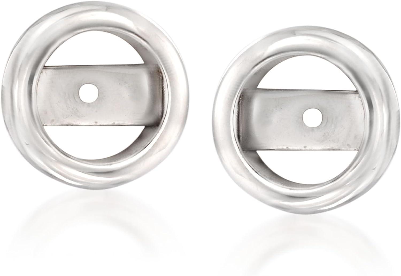 Ross-Simons 14kt White Gold Bezel Earring Jackets