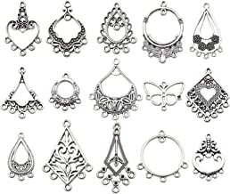 60pcs Antique Tibetan Silver Earring Chandelier Earring Charms for Jewelry Making Kit for Earring Drop and Charm Pendant Assorted Pack (60 Pcs) M268