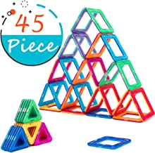 COSSY Magnet Tiles Building Block 45 PCs, Magnetic Stick and Stack Set for girls and boys, Perfect STEM Educational Toys for Kids Children, Multicoloured