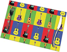 NiYoung Heat-Resistant Coffee Placemat Stain Resistant Washable Tablemats for Kitchen Dining Table Decoration, Non Slip Place Mat - 12x18 inch (Musical Instruments Guitars Pop Art Mat)