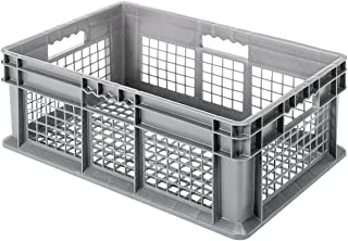 Akro-Mils 37608 24-Inch by 16-Inch by 8-Inch Straight Wall Container Tote with Mesh Sides and Mesh Base, Case of 4, Grey