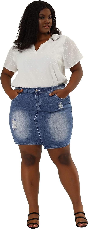 Agnes Orinda Plus Size Denim Skirts for Women Chambray Distressed Slash Pocket Irregular Hem Jean Skirt