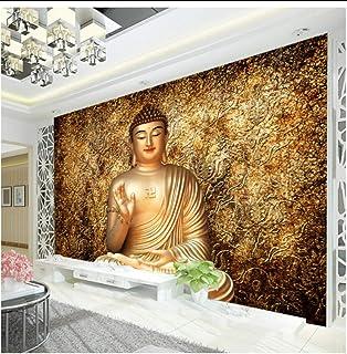 Wkxjh جولدن بوذا صورة خلفية جدارية معبد البوذية 3D خلفيات للجدران مصمم غرفة النوم غرفة المعيشة مطعم - 120 × 100 سم