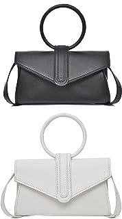 Dido´s Umhängetasche für Damen, kleine Handtasche mit Nieten und Schultertasche für Nacht, Griff und Trageriemen,