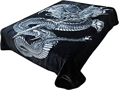 SOLARON Korean Super Thick Heavy Weight Mink Blanket (Queen, Dragon Black)