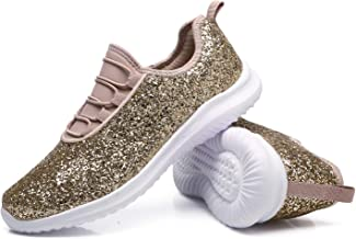 CARENURSE Women Ladies Glitter Low Top Sneakers Casual Slip-On Trainers for Leisure