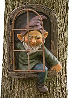 Bits and Pieces - Elf Out The Door Tree Hugger - Garden Peeker Yard Art - Whimsical Tree Sculpture Garden Decoration