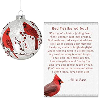 Lola Bella Gifts and Burton and Burton Cardinal Round Ornament with Red Feathered Soul Poem
