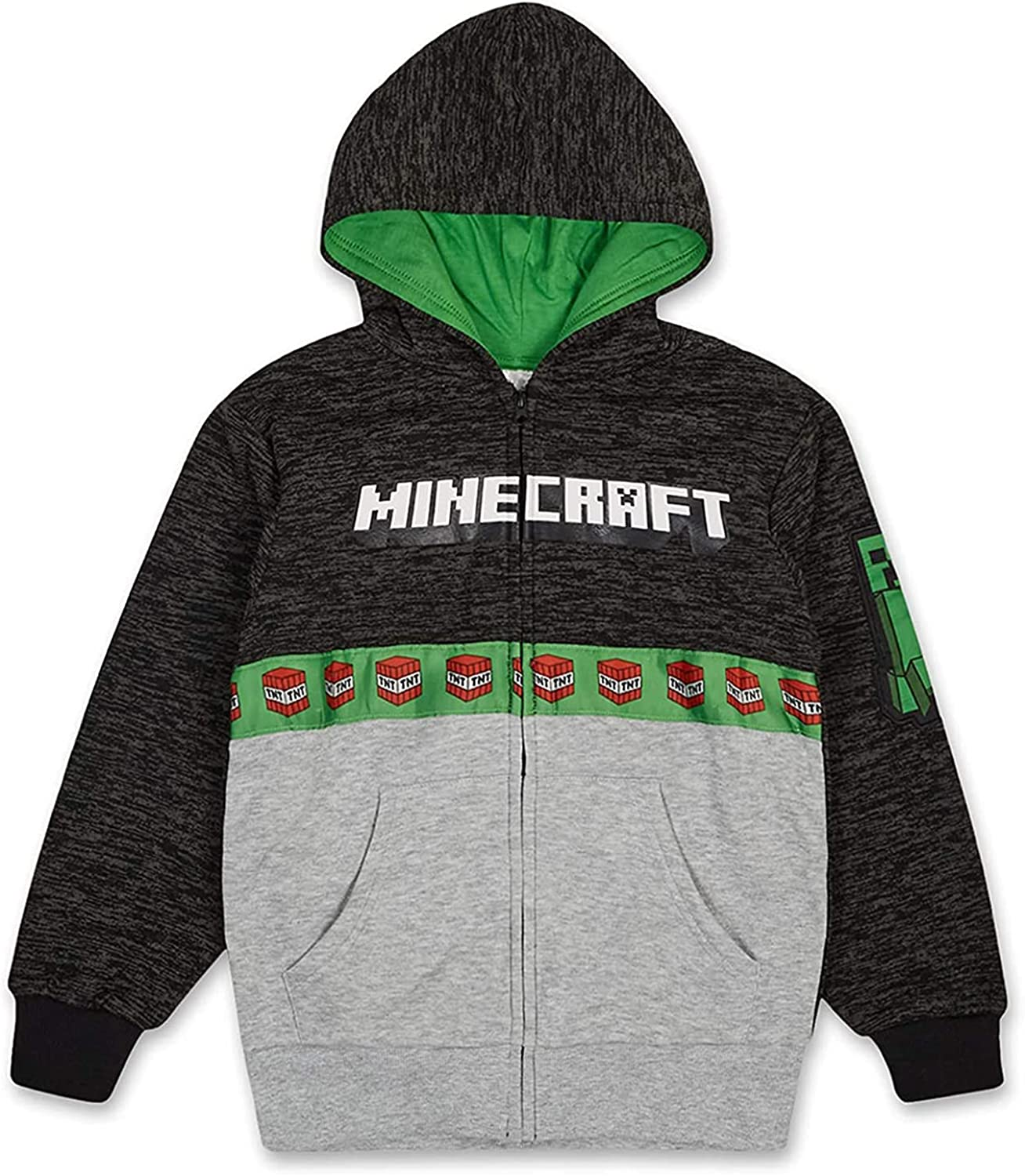 Minecraft Boys Video Game Hoodie - Black and Green Creeper Face - Official Sweatshirt
