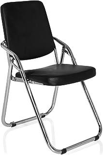 hjh OFFICE 706300 chaise de conférence, chaise visiteur pliable ESTO noir en simili-cuir, mécanisme de pliage économise la...
