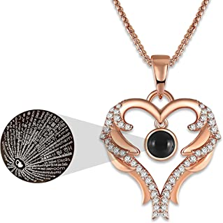 GEORGE · SMITH Rose Gold Love Heart Pendant Necklace 100 Languages I Love You Necklace Love Memory Jewelry Gifts for Women Girls