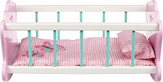 Toysters Wooden Baby Doll Rocking Cradle | Crib Includes Accessories - Matching Mattress and Pillow | Adorable Pink Bed Si...