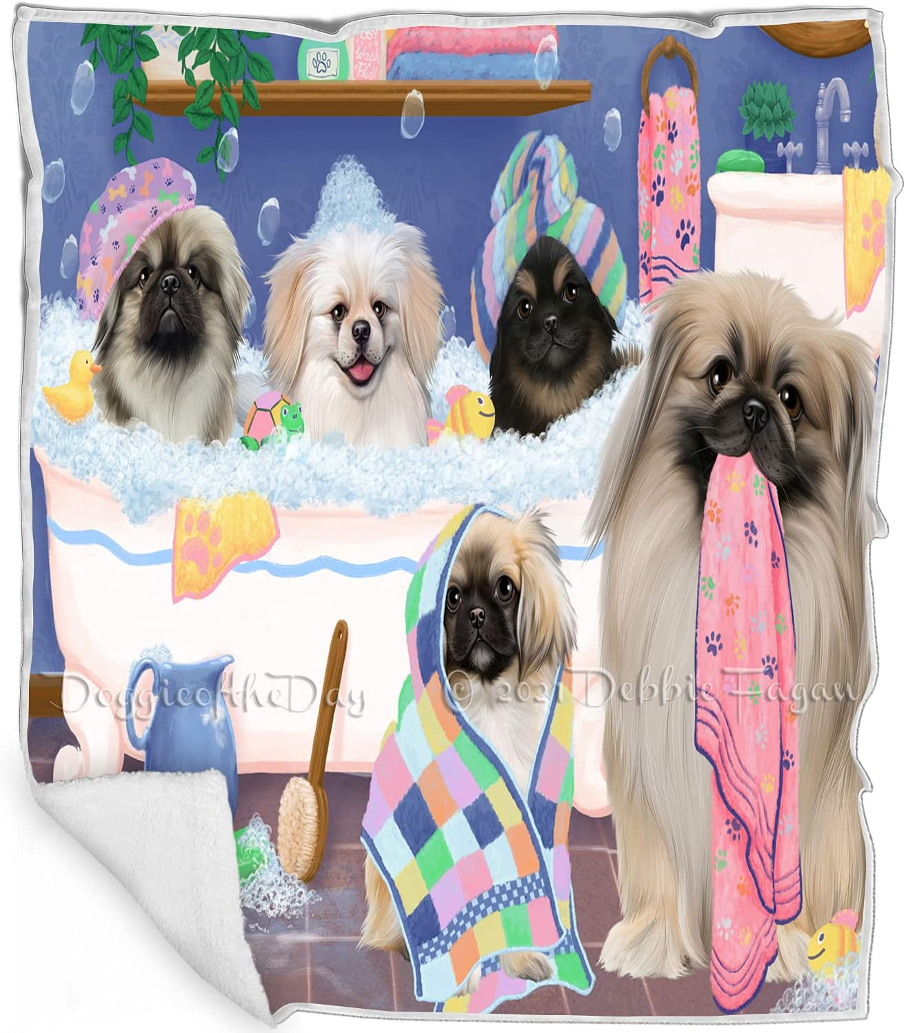 Rub A Dub Dogs in Tub 5 ☆ popular At the price of surprise Blanket Multicolor Pekingese - Fluf