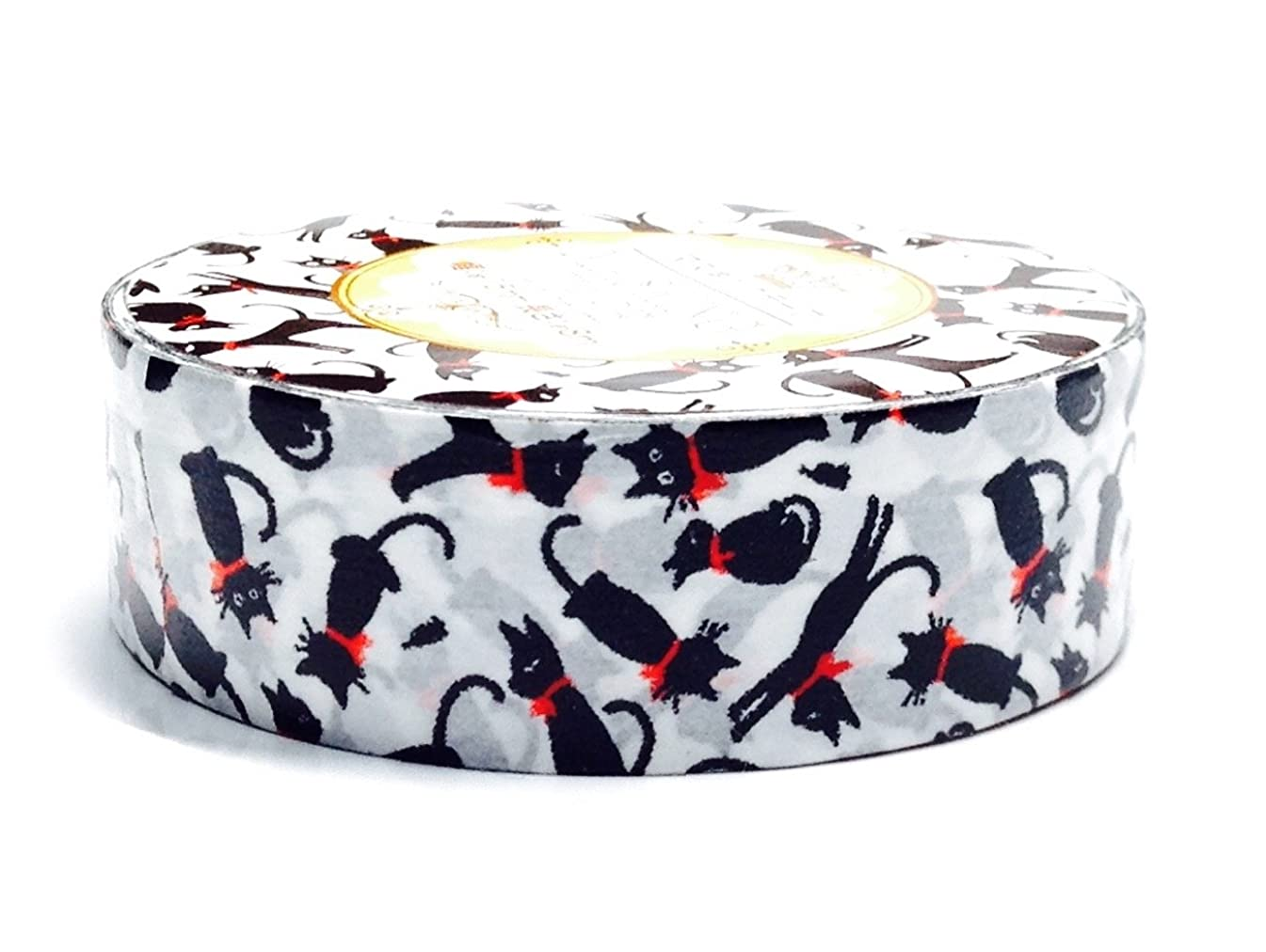 Decorative Tape Washi Masking Tape Scrapbooking DIY Crafts Gift Wrapping Black Cat With Red Collar 0.6
