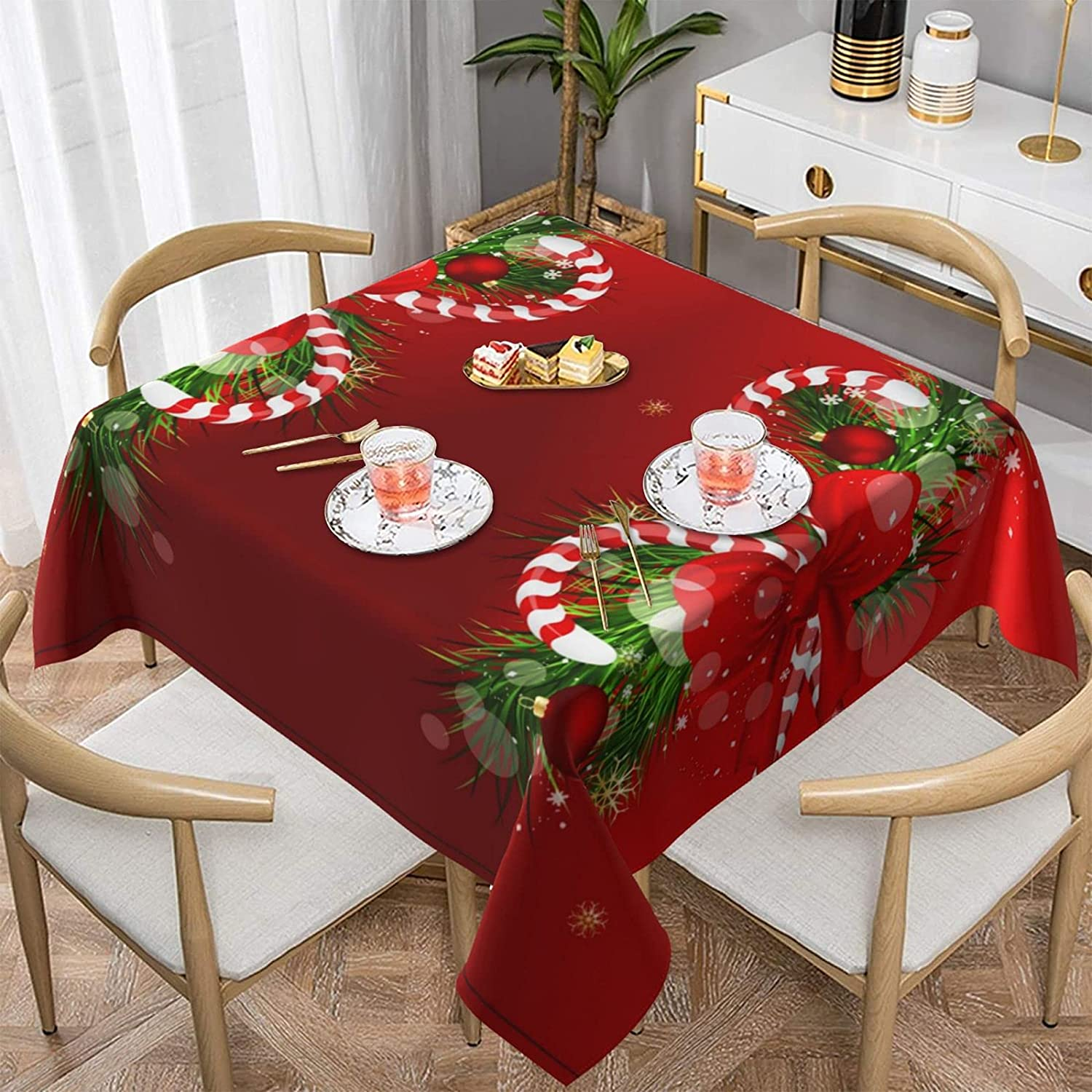 VRKAJZEW Merry Christmas Print Table Cloth – Weekly update Water Manufacturer direct delivery Washable Re