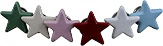 RoyaltyRoute Solid Colour Star Knobs Ceramic Vintage Shabby Chic Cupboard Drawer Pull Handles for Home Decor, Set of 6