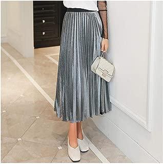 A Perfect Pleated skirt Falda Plisada de Cintura Alta para Mujer, Media Longitud, Transpirable, Larga Longitud
