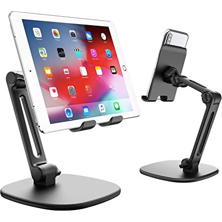 APPS2Car Adjustable Tablet Stand Holder for Desk with Heavy Duty Tripod Base