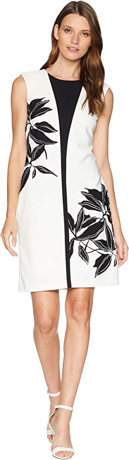 Contrast Flower Sheath Dress