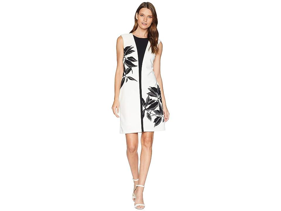 Taylor Contrast Flower Sheath Dress (Ivory/Black) Women
