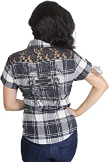 Womens Downswept Wing with Lace Panels Plaid Woven Shirt 99167-17VW