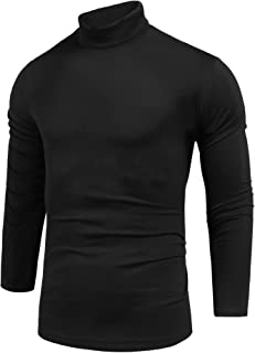 Pacinoble Mens Basic Turtleneck Thermal Long Sleeve T-Shirt Sweatshirt Cozy Pullover Tops (Black S)