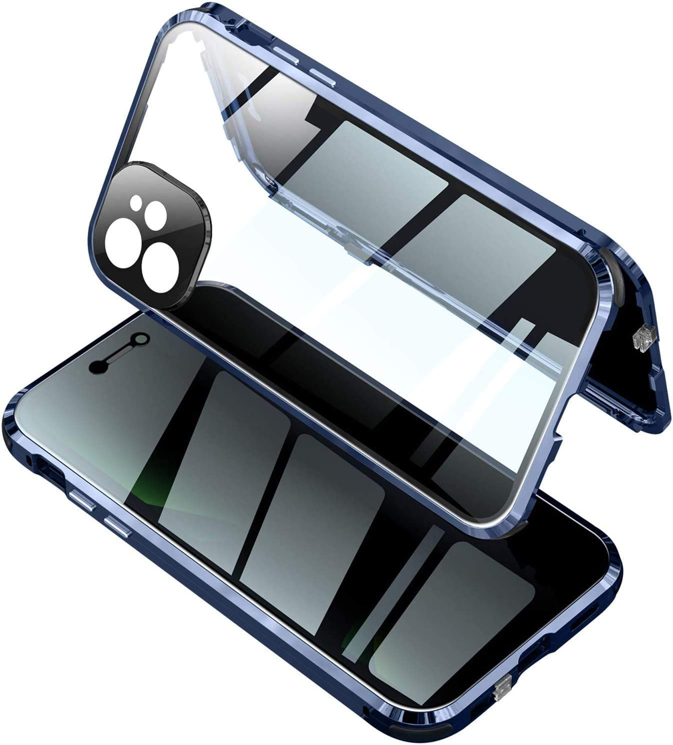 Anti Peeping Clear Case for iPhone 11 Pro Max,Safety Buckle Lock with Privacy Screen Protector-Camera Lens Protector- Magnetic Metal 360 Full Body Anti Spy Cover (iPhone 11 Pro Max, Pacific Blue)