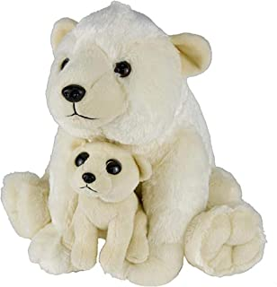 Wildlife Tree 11 and 5 Inch Stuffed Polar Bear Mom and Baby Plush Floppy Zoo Animal Family Collection