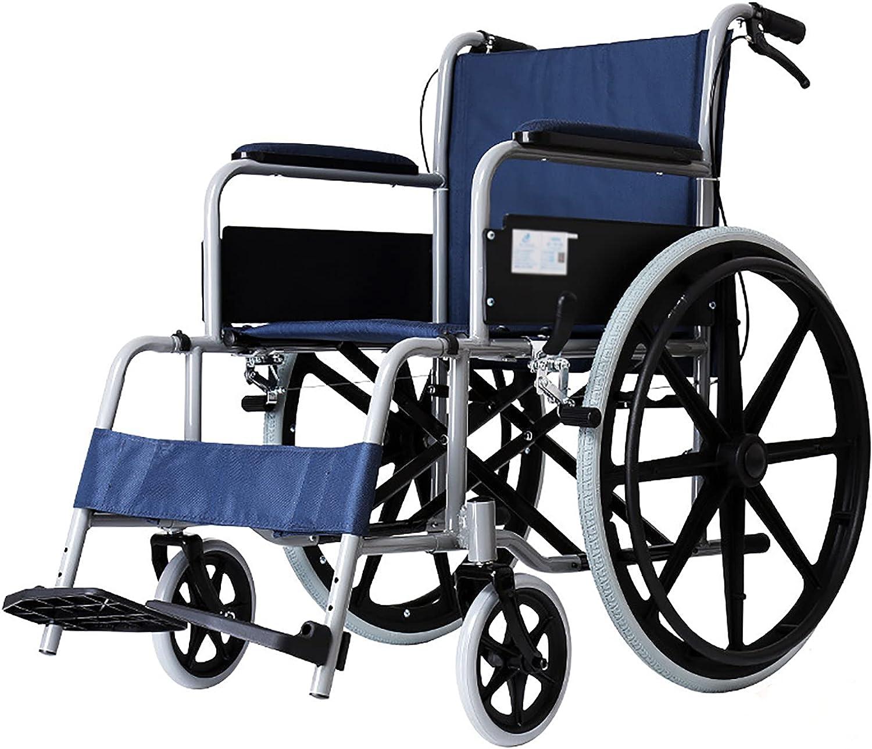YDYBY Silla de Ruedas con Freno de Mano, Color Negro, Silla de Ruedas Plegable para Personas Mayores y discapacitadas Respaldo cómodo Transporte Silla de Ruedas
