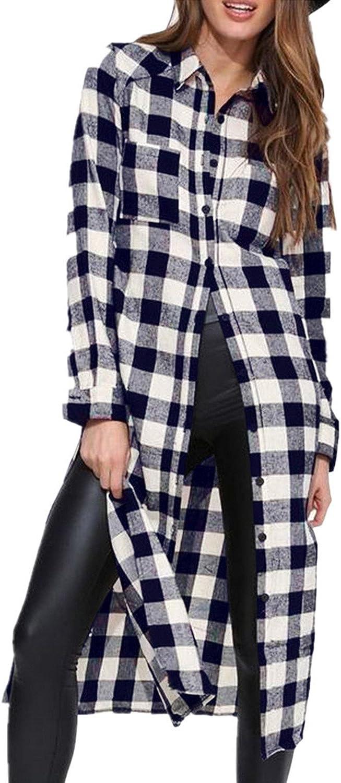 ZANZEA Women Flannel Tunic Plaid Long Sleeve Casual Button Down Shirts LooseBuffalo Check Side Slit Blouse Tops