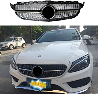 Diamond radiator front grill for Mercedes C class W205 C300 C250 black 2015-2018 AMG package no camera(not for real C63)