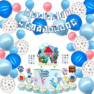 Party supplies for Blues Clues Theme Party Decorations Cake topper Banner Balloons Stickers Cupcake Toppers for Girls Boys