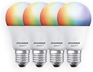 SYLVANIA Smart+ Wi-Fi Full Color Dimmable A19 LED Light Bulb, CRI 90+, 60W Equivalent, Compatible with Alexa and Google As...