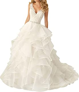 Wedding Dress for Bride Lace Brial Dresses with Belt A line Bride Dress V Neck Ruffles - coolthings.us