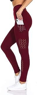 BSP Women's High Waist Leggings - Active Yoga Pants with Pockets & Breathable Holes