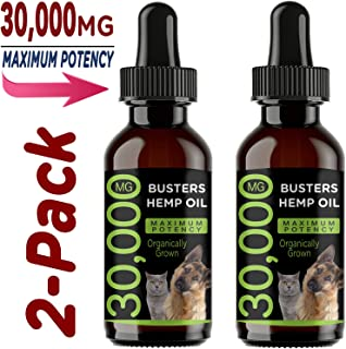 K2xLabs 30,000 MG Busters Organic Hemp Oil for Dogs & Cats - Max Potency - Made in USA - Omega Rich 3, 6 & 9 - Hip & Joint Health, Natural Relief for Pain, Separation Anxiety