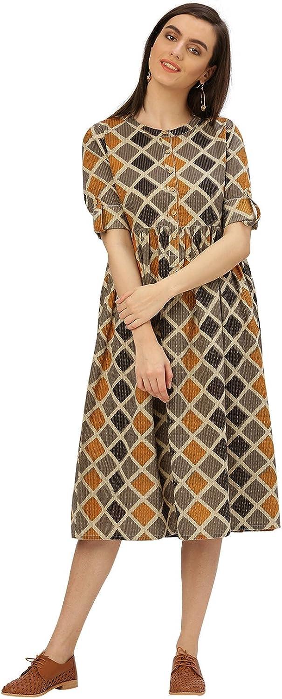 Jaipur Kurti Women Casual Top Tunic Summer Geometrical Cotton Kantha Dress (Mustard)