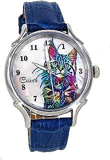 Sponsored Ad - Celeste Cat Pet Swiss Quartz Watch Multicolor 35mm Mother of Pearl Rainbow Art Dial Blue Calfskin Strap