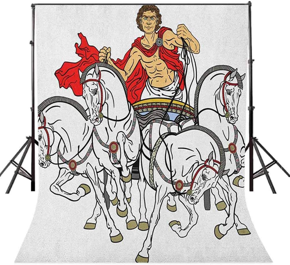 8x12 FT Vinyl Photography Background Backdrops,Hellenic Man on The Chariot Drawn by Roman Horses Early Ages Equestrian Image Background for Child Baby Shower Photo Studio Prop Photobooth Photoshoot
