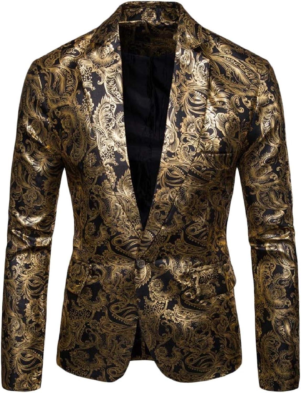 TaoNice Men Slim Fit Shiny Metallic Print Bronzing One Button Blazer Jacket
